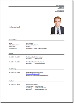 Muster Lebenslauf | Personaldienstleistungen für Industriebranchen